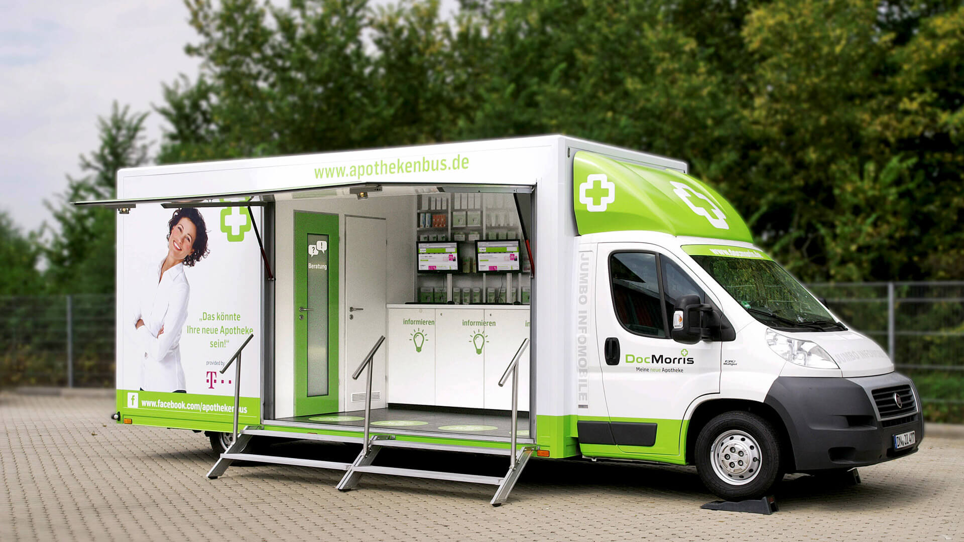 mobile-Apotheke Infotruck mobile-Geschäftsstelle Roadshow Showtruck mobiles-Marketing